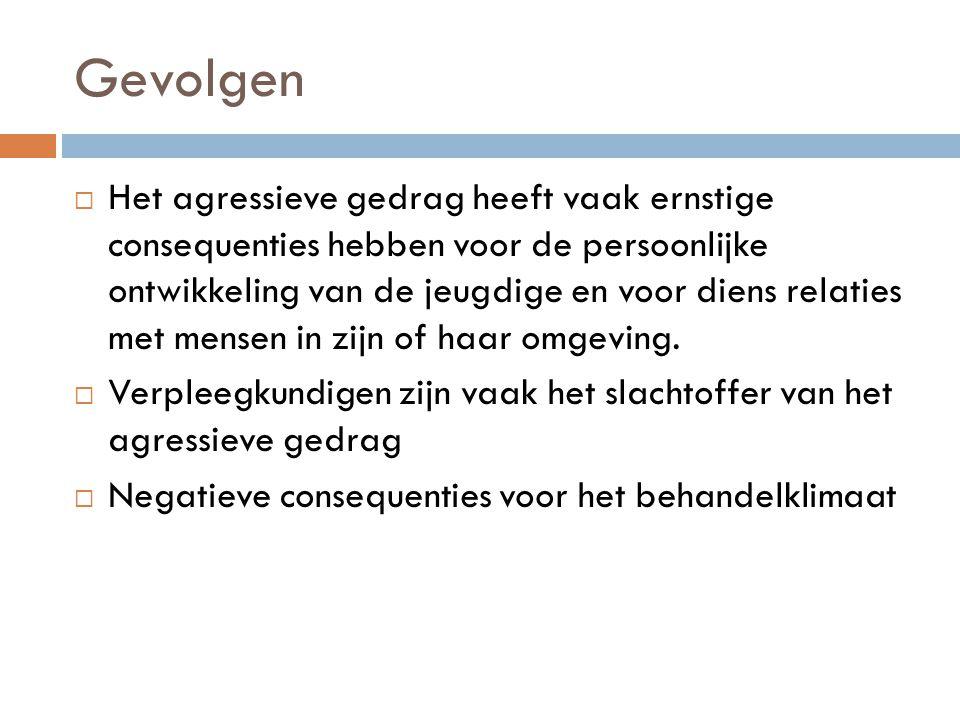 Gevolgen  Het agressieve gedrag heeft vaak ernstige consequenties hebben voor de persoonlijke ontwikkeling van de jeugdige en voor diens relaties met