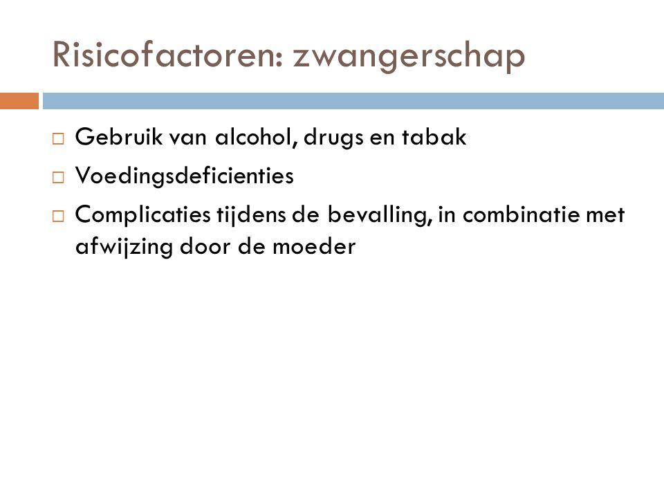 Risicofactoren: zwangerschap  Gebruik van alcohol, drugs en tabak  Voedingsdeficienties  Complicaties tijdens de bevalling, in combinatie met afwij