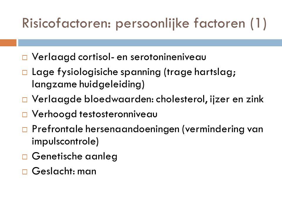 Risicofactoren: persoonlijke factoren (1)  Verlaagd cortisol- en serotonineniveau  Lage fysiologisiche spanning (trage hartslag; langzame huidgeleid