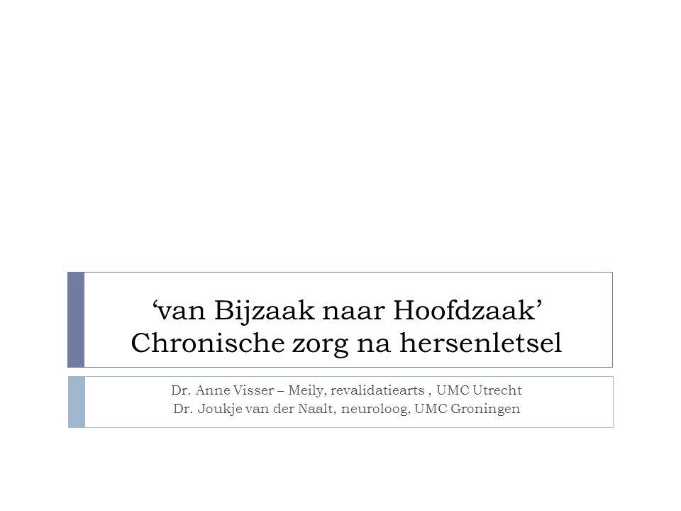 'van Bijzaak naar Hoofdzaak' Chronische zorg na hersenletsel Dr. Anne Visser – Meily, revalidatiearts, UMC Utrecht Dr. Joukje van der Naalt, neuroloog