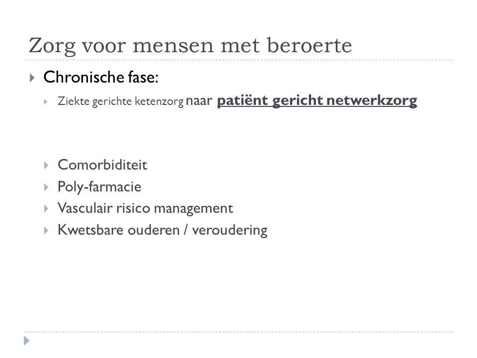Zorg voor mensen met beroerte  Chronische fase:  Ziekte gerichte ketenzorg naar patiënt gericht netwerkzorg  Comorbiditeit  Poly-farmacie  Vasculair risico management  Kwetsbare ouderen / veroudering