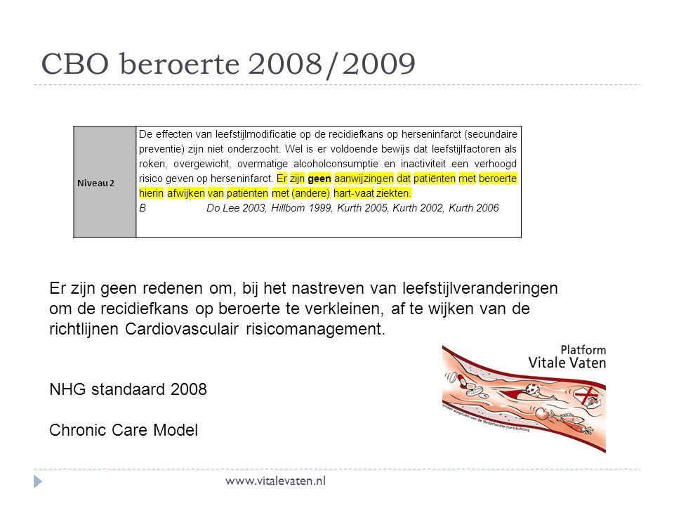 CBO beroerte 2008/2009 Niveau 2 De effecten van leefstijlmodificatie op de recidiefkans op herseninfarct (secundaire preventie) zijn niet onderzocht.
