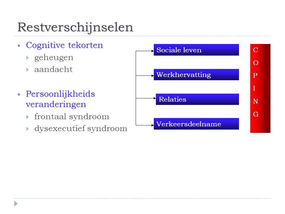 Restverschijnselen • Cognitive tekorten  geheugen  aandacht • Persoonlijkheids veranderingen  frontaal syndroom  dysexecutief syndroom Sociale lev