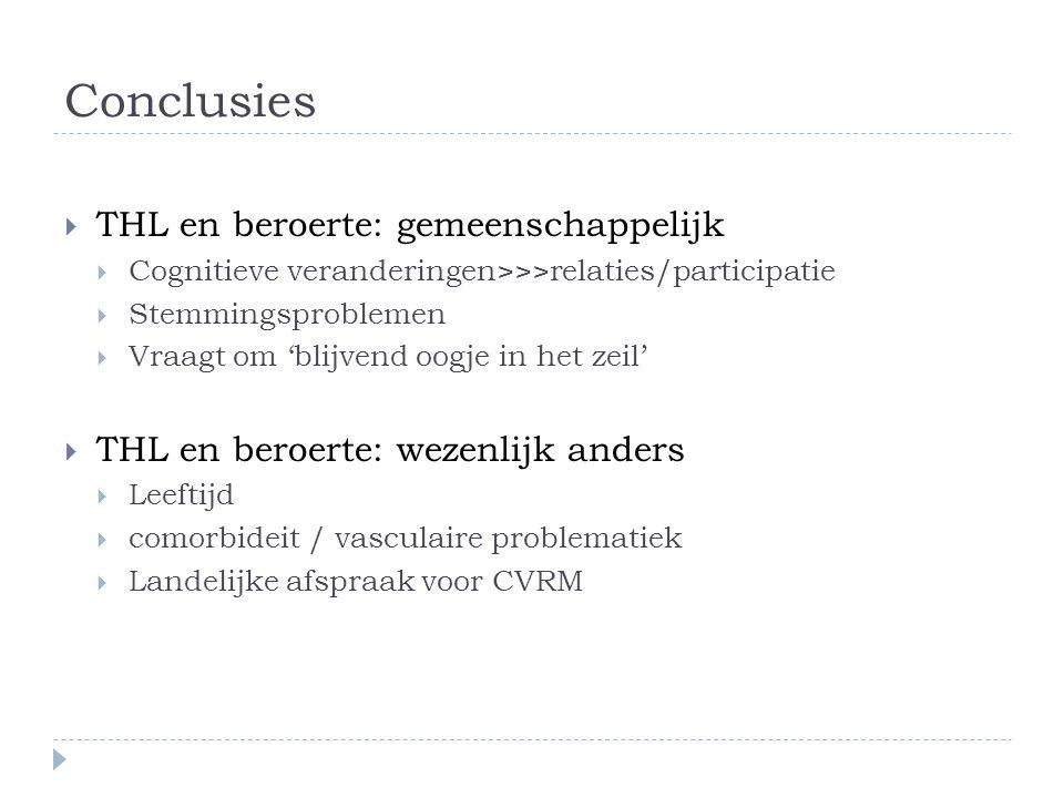 Conclusies  THL en beroerte: gemeenschappelijk  Cognitieve veranderingen>>>relaties/participatie  Stemmingsproblemen  Vraagt om 'blijvend oogje in het zeil'  THL en beroerte: wezenlijk anders  Leeftijd  comorbideit / vasculaire problematiek  Landelijke afspraak voor CVRM