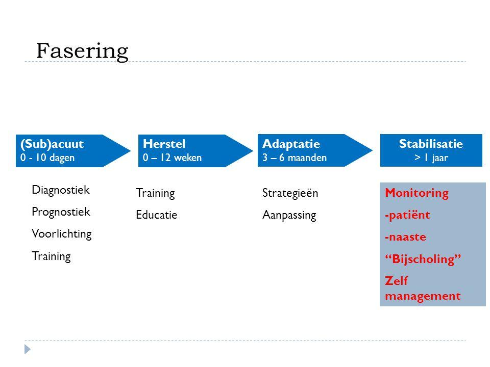 (Sub)acuut 0 - 10 dagen Herstel 0 – 12 weken Adaptatie 3 – 6 maanden Stabilisatie > 1 jaar Diagnostiek Prognostiek Voorlichting Training Educatie Stra