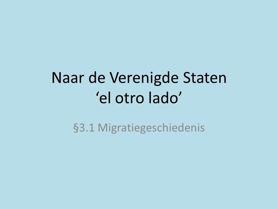 Actualiteit 18 oktober 2011 http://www.rtl.nl/xl/#/u/1489aec4-8084-452b-a828-c75fbc1d47e7/ Tussen WO I en WO II minder migratie vanwege: • economische crisis • problemen landbouw midwesten (stofstormen door droogte en verkeerde landbouwmethoden)