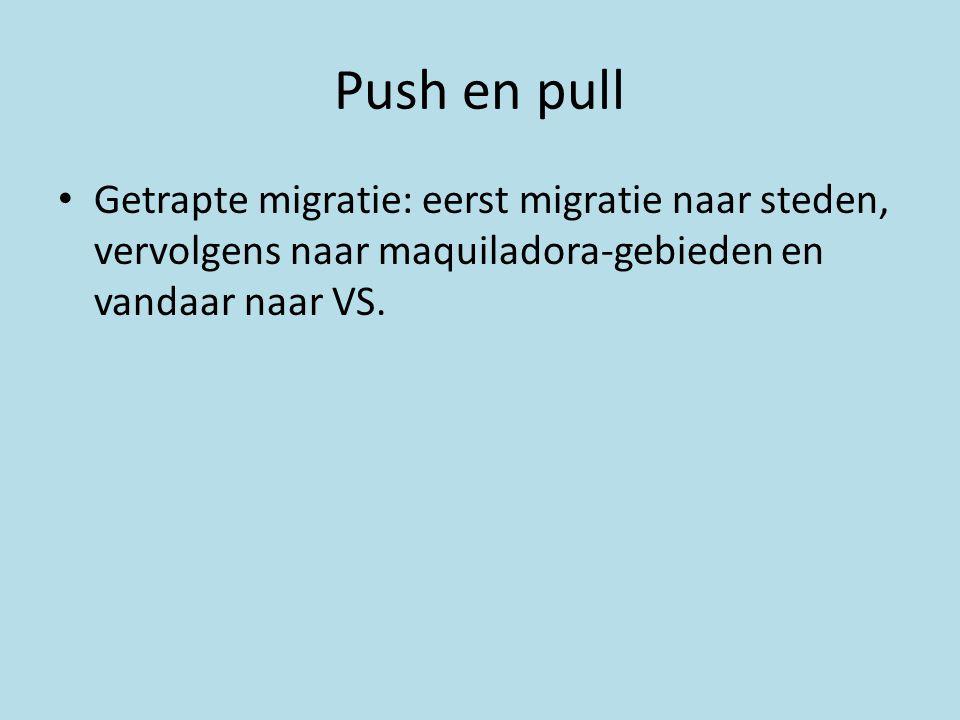 Push en pull • Getrapte migratie: eerst migratie naar steden, vervolgens naar maquiladora-gebieden en vandaar naar VS.