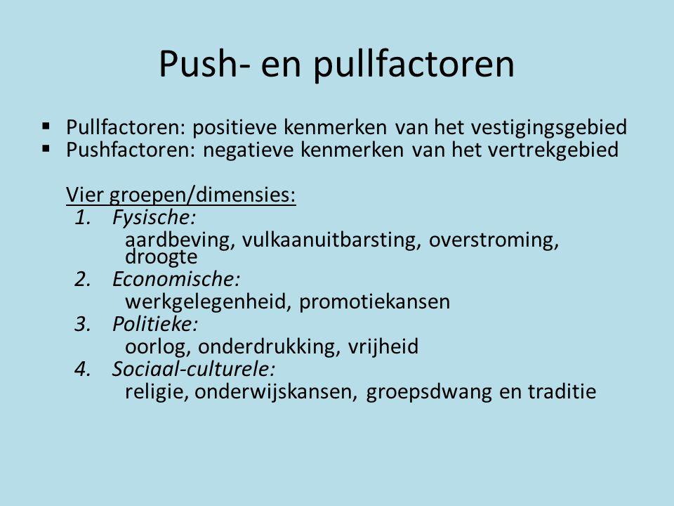 Push- en pullfactoren  Pullfactoren: positieve kenmerken van het vestigingsgebied  Pushfactoren: negatieve kenmerken van het vertrekgebied Vier groe