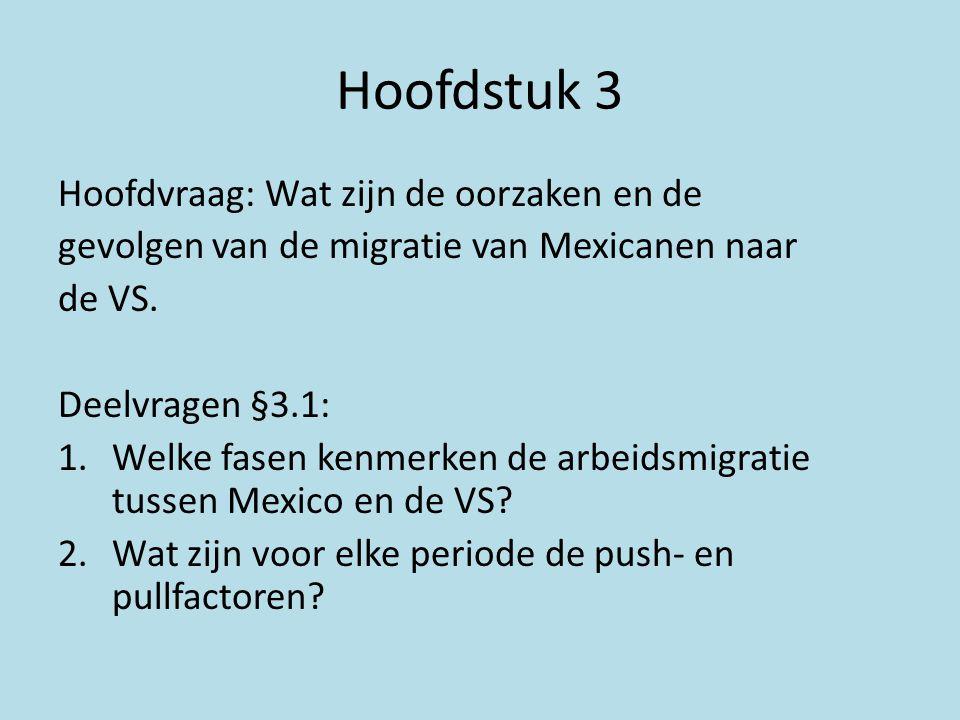 Hoofdstuk 3 Hoofdvraag: Wat zijn de oorzaken en de gevolgen van de migratie van Mexicanen naar de VS. Deelvragen §3.1: 1.Welke fasen kenmerken de arbe