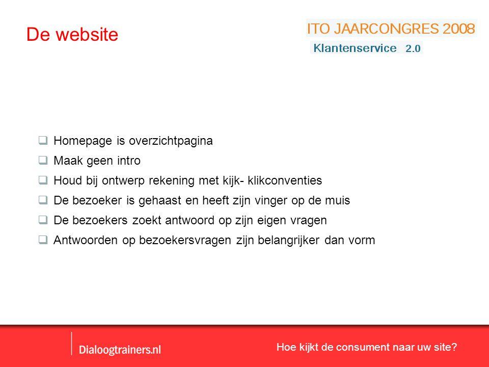 Hoe kijkt de consument naar uw site? De website  Homepage is overzichtpagina  Maak geen intro  Houd bij ontwerp rekening met kijk- klikconventies 