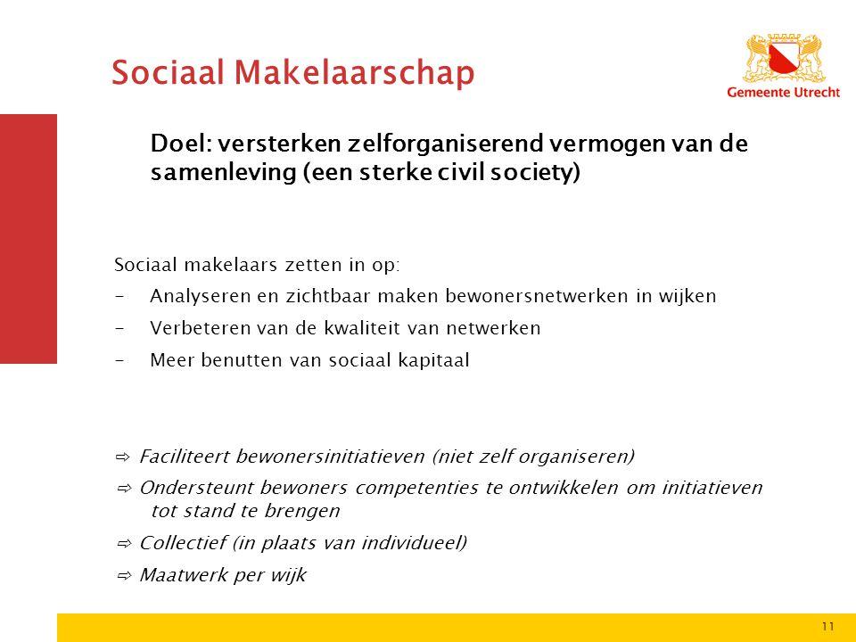 11 Sociaal Makelaarschap Doel: versterken zelforganiserend vermogen van de samenleving (een sterke civil society) Sociaal makelaars zetten in op: -Ana