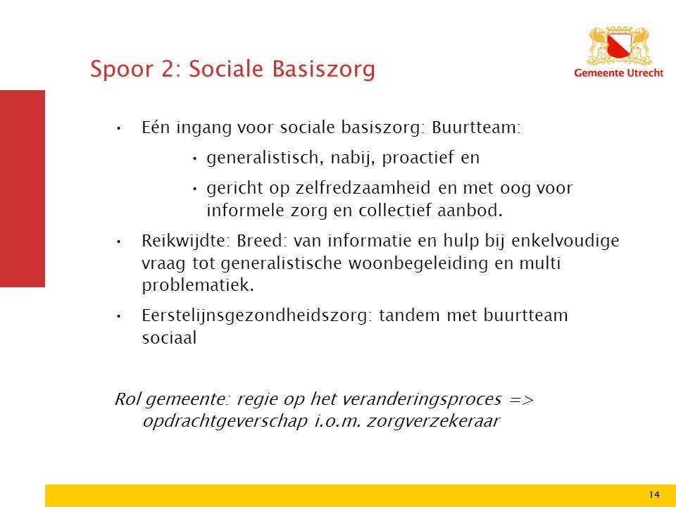 14 •Eén ingang voor sociale basiszorg: Buurtteam: •generalistisch, nabij, proactief en •gericht op zelfredzaamheid en met oog voor informele zorg en c