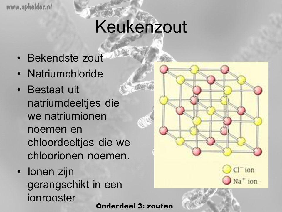 Keukenzout •Bekendste zout •Natriumchloride •Bestaat uit natriumdeeltjes die we natriumionen noemen en chloordeeltjes die we chloorionen noemen.