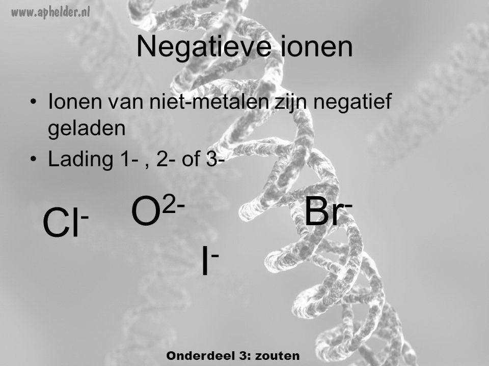 Negatieve ionen •Ionen van niet-metalen zijn negatief geladen •Lading 1-, 2- of 3- Cl - Br - I-I- O 2- Onderdeel 3: zouten