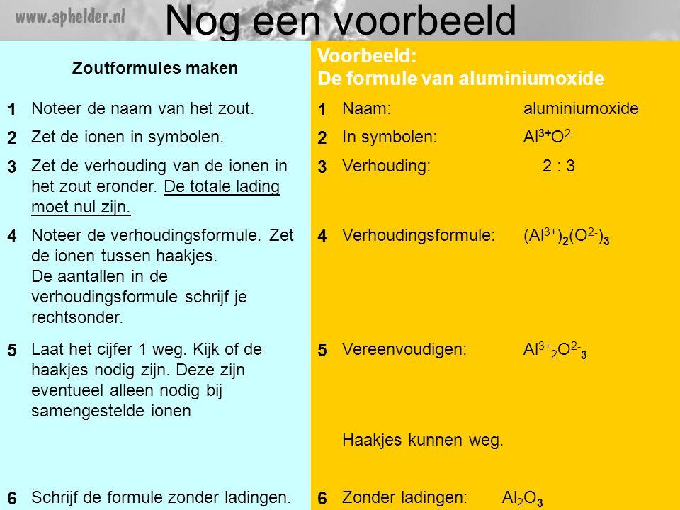 Nog een voorbeeld Zoutformules maken Voorbeeld: De formule van aluminiumoxide 1 Noteer de naam van het zout.