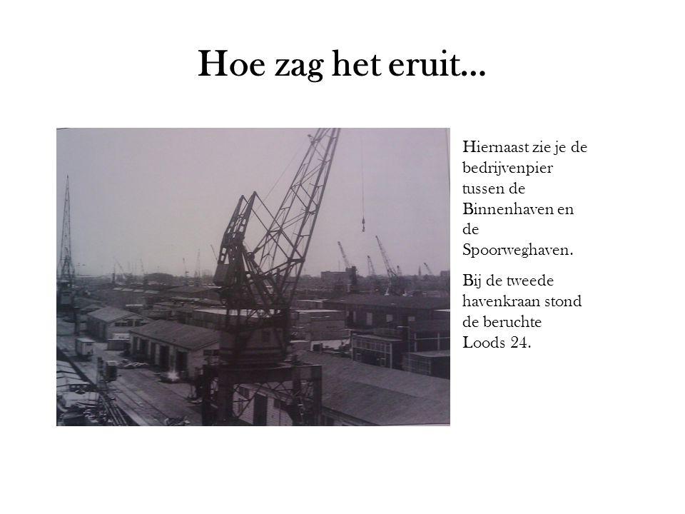 Hoe zag het eruit… Hiernaast zie je de bedrijvenpier tussen de Binnenhaven en de Spoorweghaven. Bij de tweede havenkraan stond de beruchte Loods 24.