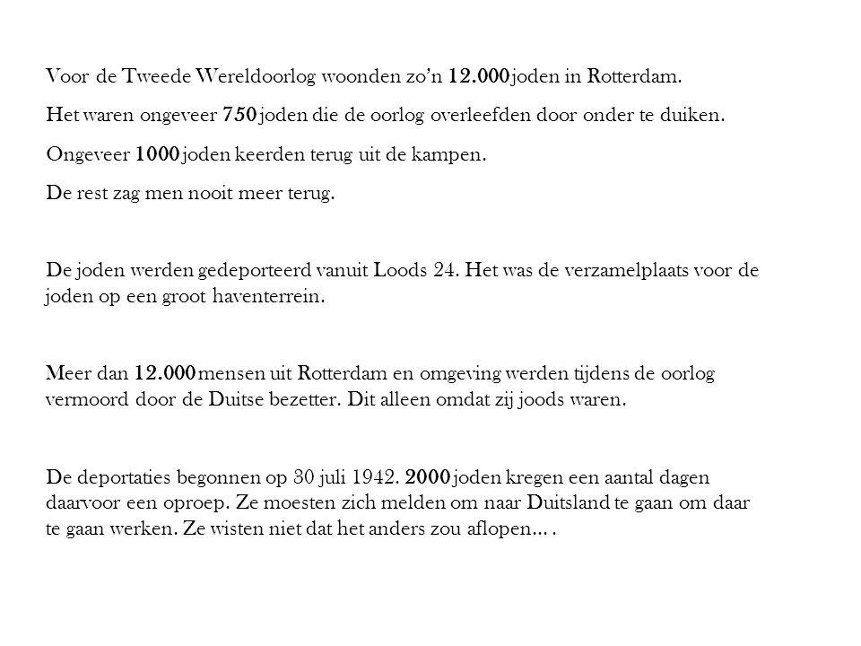 Voor de Tweede Wereldoorlog woonden zo'n 12.000 joden in Rotterdam. Het waren ongeveer 750 joden die de oorlog overleefden door onder te duiken. Ongev