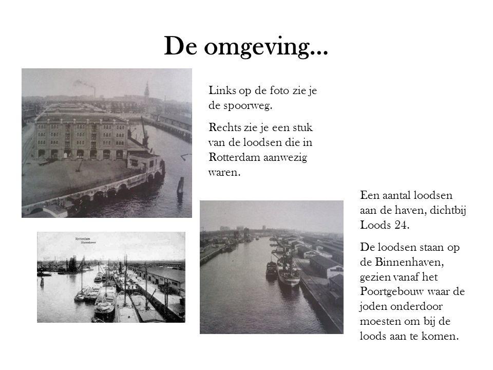 De omgeving… Links op de foto zie je de spoorweg. Rechts zie je een stuk van de loodsen die in Rotterdam aanwezig waren. Een aantal loodsen aan de hav
