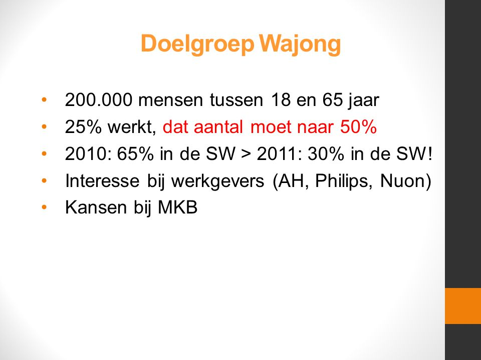 Doelgroep Wajong •200.000 mensen tussen 18 en 65 jaar •25% werkt, dat aantal moet naar 50% •2010: 65% in de SW > 2011: 30% in de SW.