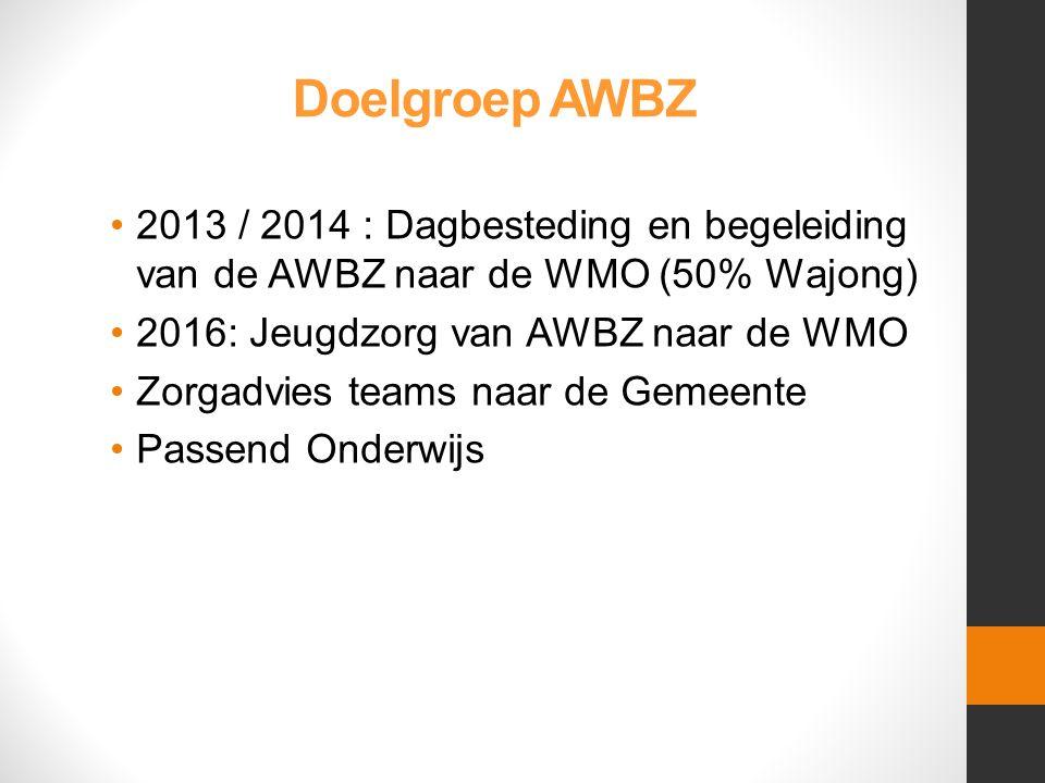 Doelgroep AWBZ •2013 / 2014 : Dagbesteding en begeleiding van de AWBZ naar de WMO (50% Wajong) •2016: Jeugdzorg van AWBZ naar de WMO •Zorgadvies teams naar de Gemeente •Passend Onderwijs