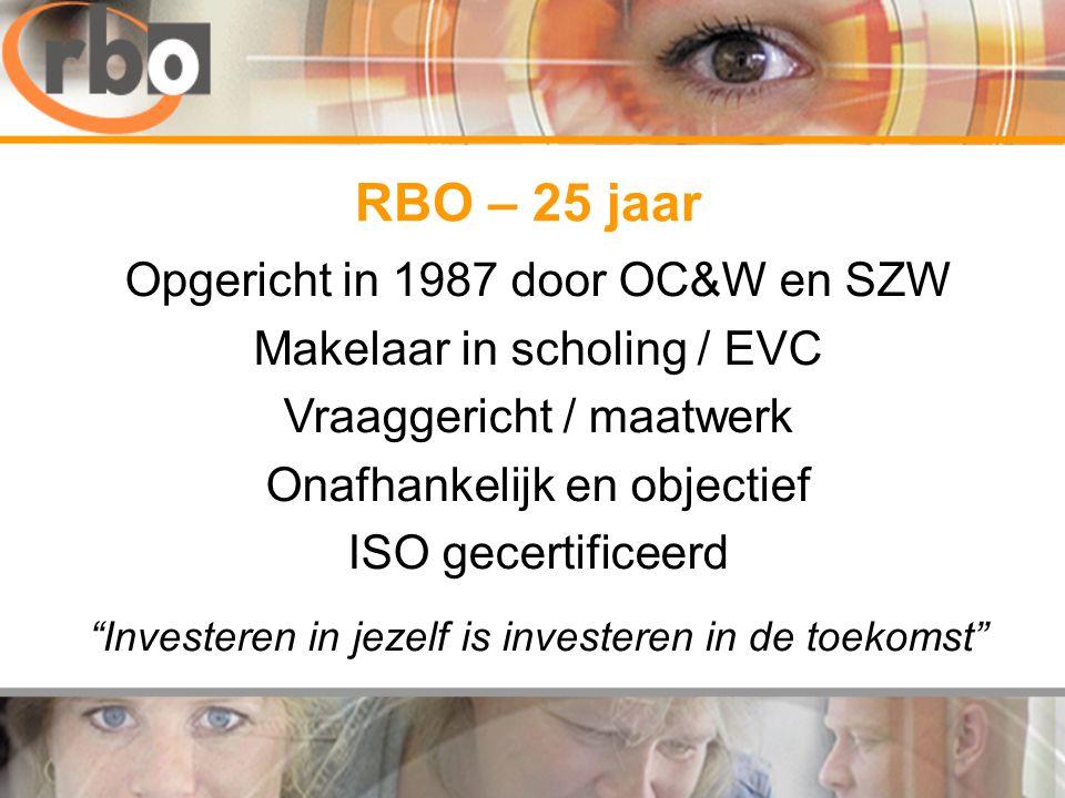 Opgericht in 1987 door OC&W en SZW Makelaar in scholing / EVC Vraaggericht / maatwerk Onafhankelijk en objectief ISO gecertificeerd Investeren in jezelf is investeren in de toekomst RBO – 25 jaar