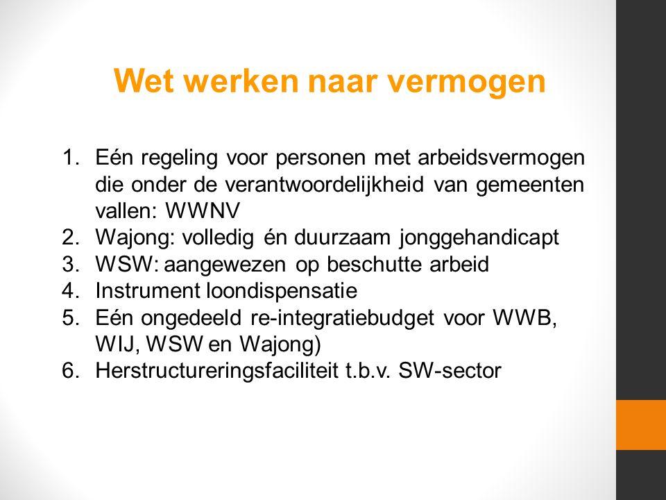 1.Eén regeling voor personen met arbeidsvermogen die onder de verantwoordelijkheid van gemeenten vallen: WWNV 2.Wajong: volledig én duurzaam jonggehandicapt 3.WSW: aangewezen op beschutte arbeid 4.Instrument loondispensatie 5.Eén ongedeeld re-integratiebudget voor WWB, WIJ, WSW en Wajong) 6.Herstructureringsfaciliteit t.b.v.