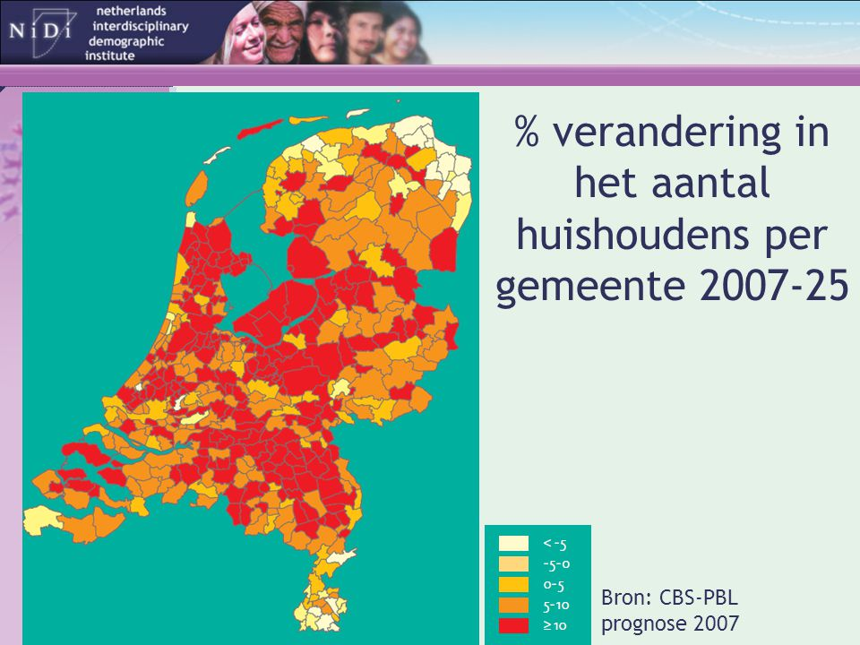 % verandering in het aantal huishoudens per gemeente 2007-25 Bron: CBS-PBL prognose 2007