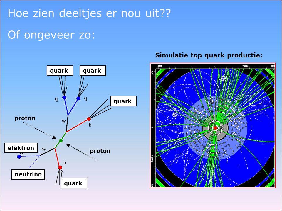 proton quark neutrino elektron quark Simulatie top quark productie: Hoe zien deeltjes er nou uit?? Of ongeveer zo: