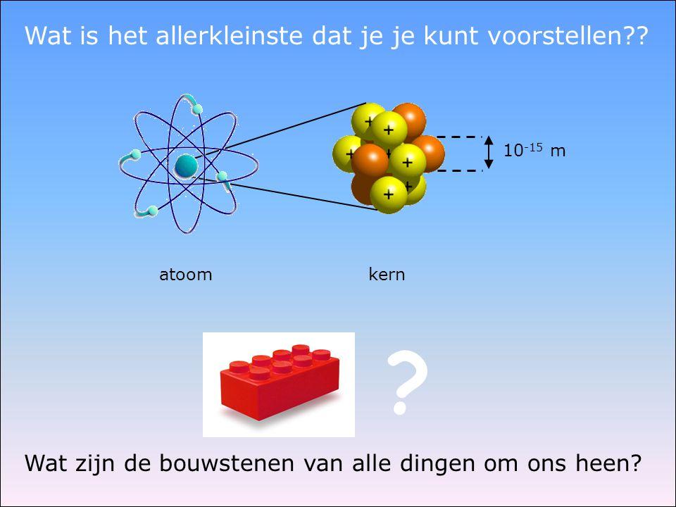 atoom kern 10 -15 m Wat is het allerkleinste dat je je kunt voorstellen?? ? Wat zijn de bouwstenen van alle dingen om ons heen?