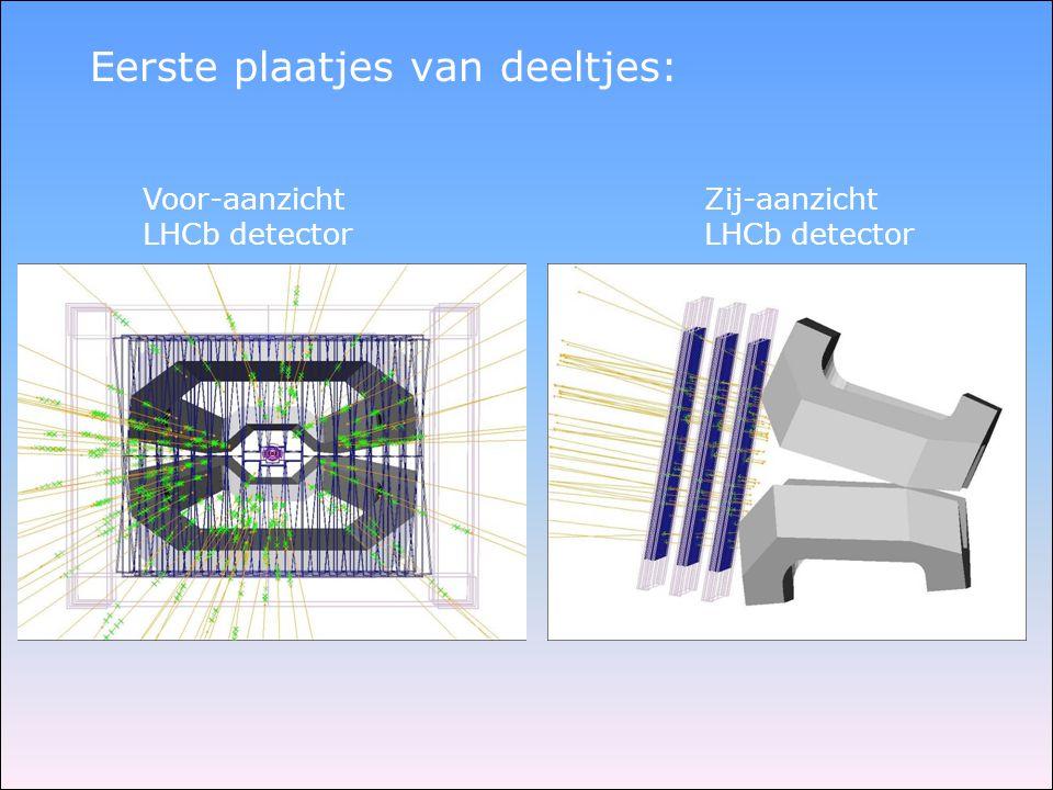 Eerste plaatjes van deeltjes: Zij-aanzicht LHCb detector Voor-aanzicht LHCb detector