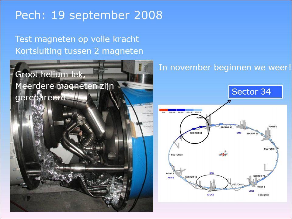 Pech: 19 september 2008 Sector 34 Test magneten op volle kracht Kortsluiting tussen 2 magneten Groot helium lek. Meerdere magneten zijn gerepareerd In