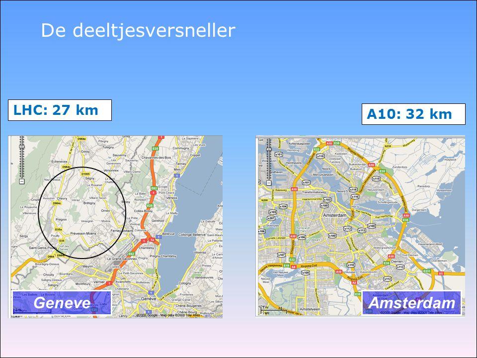 De deeltjesversneller GeneveAmsterdam LHC: 27 km A10: 32 km