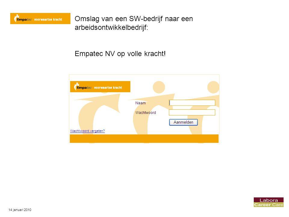 14 januari 2010 Omslag van een SW-bedrijf naar een arbeidsontwikkelbedrijf: Empatec NV op volle kracht!