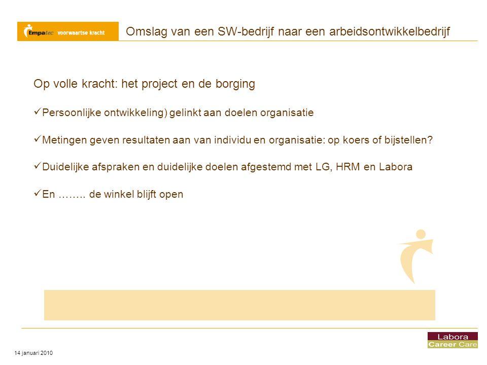 Omslag van een SW-bedrijf naar een arbeidsontwikkelbedrijf 14 januari 2010 Op volle kracht: het project en de borging  Persoonlijke ontwikkeling) gel