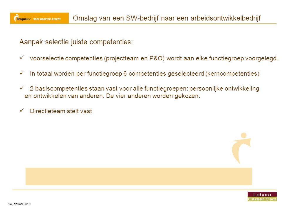 Omslag van een SW-bedrijf naar een arbeidsontwikkelbedrijf 14 januari 2010 Aanpak selectie juiste competenties:  voorselectie competenties (projectte
