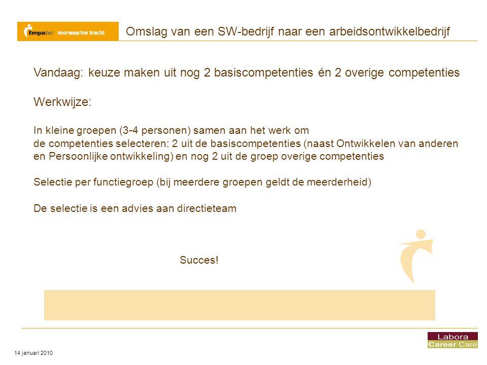 Omslag van een SW-bedrijf naar een arbeidsontwikkelbedrijf 14 januari 2010 Vandaag: keuze maken uit nog 2 basiscompetenties én 2 overige competenties