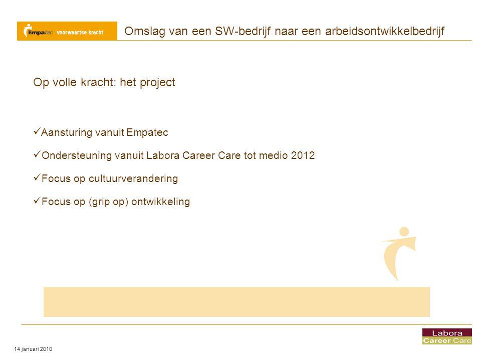 Omslag van een SW-bedrijf naar een arbeidsontwikkelbedrijf 14 januari 2010 Op volle kracht: het project  Aansturing vanuit Empatec  Ondersteuning va