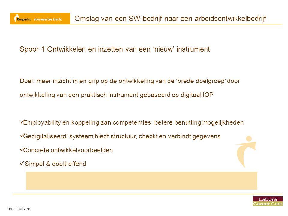 Omslag van een SW-bedrijf naar een arbeidsontwikkelbedrijf 14 januari 2010 Vragen?