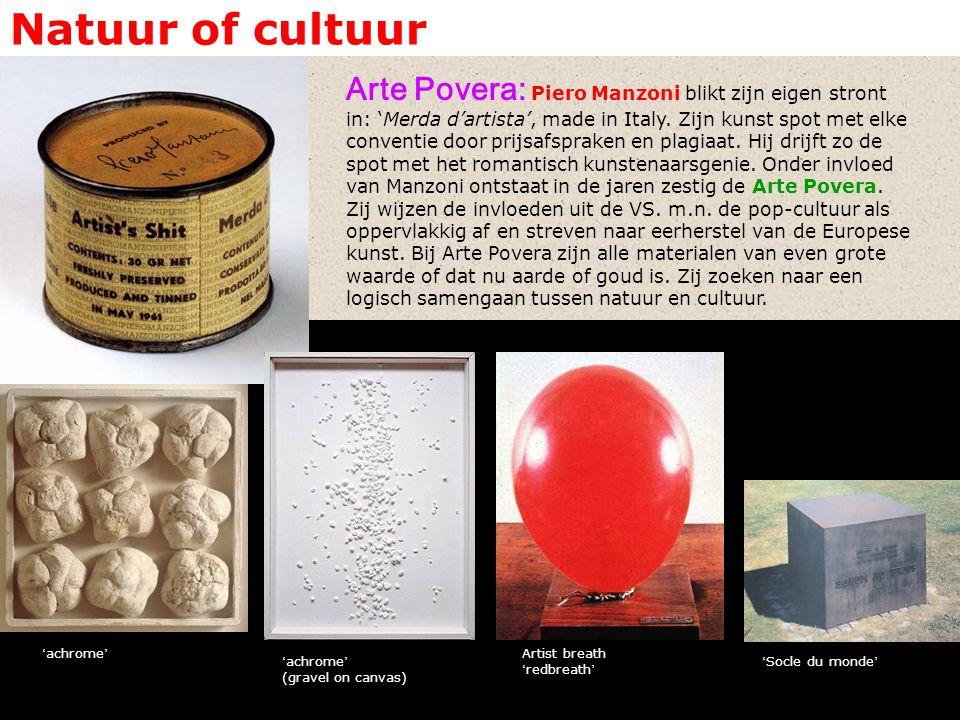 Natuur of cultuur Arte Povera: Piero Manzoni blikt zijn eigen stront in: 'Merda d'artista', made in Italy.