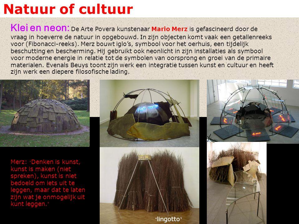 Natuur of cultuur Klei en neon: De Arte Povera kunstenaar Mario Merz is gefascineerd door de vraag in hoeverre de natuur in opgebouwd.