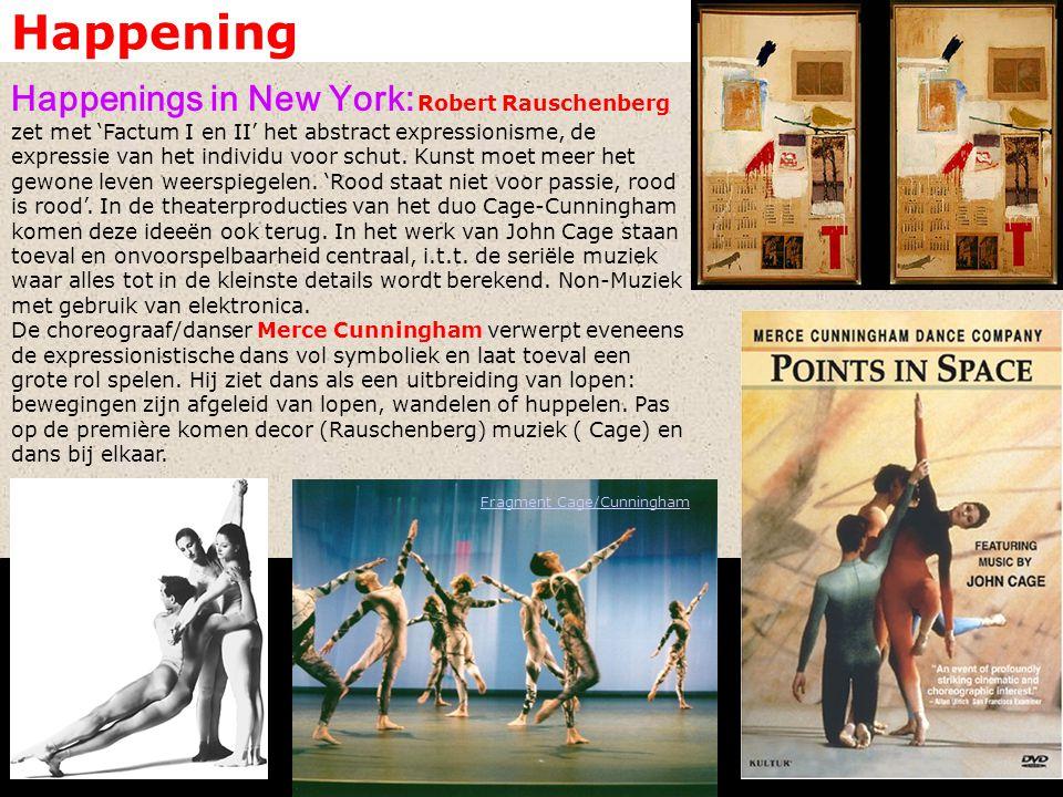 Happening Judson Dance Theatre: In New York, het mekka van de avant-garde dans, wordt de anti-expressionistische dansvorm wordt verder uitgewerkt in pure dans.