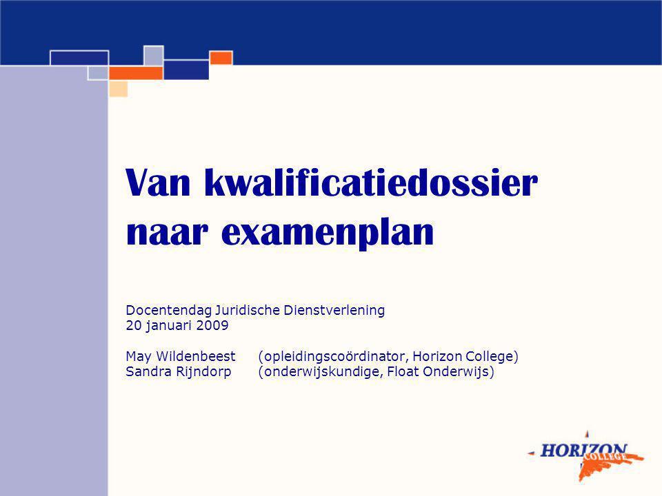 Van kwalificatiedossier naar examenplan Docentendag Juridische Dienstverlening 20 januari 2009 May Wildenbeest (opleidingscoördinator, Horizon College