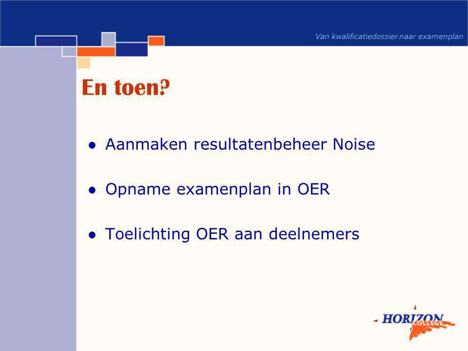 Van kwalificatiedossier naar examenplan En toen?  Aanmaken resultatenbeheer Noise  Opname examenplan in OER  Toelichting OER aan deelnemers