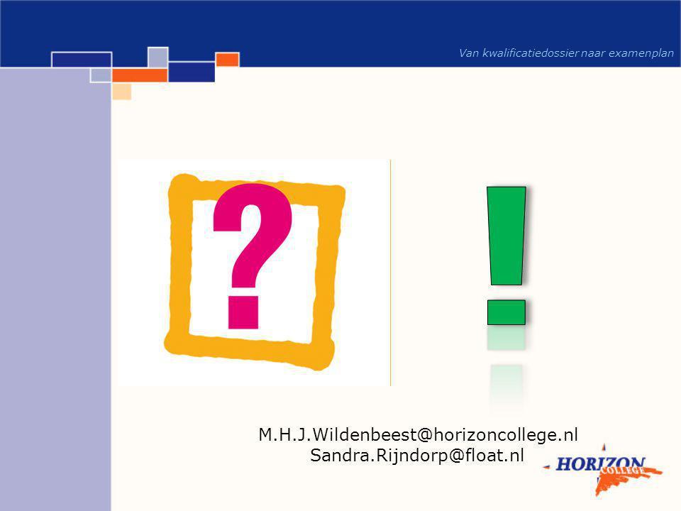 Van kwalificatiedossier naar examenplan M.H.J.Wildenbeest@horizoncollege.nl Sandra.Rijndorp@float.nl