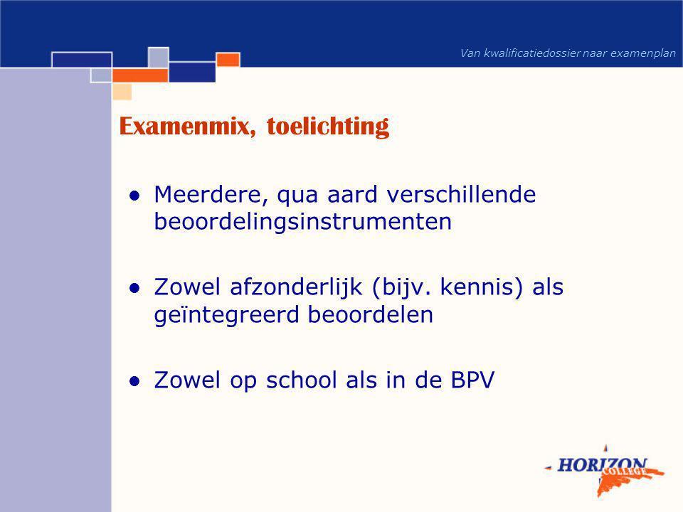 Van kwalificatiedossier naar examenplan Examenmix, toelichting  Meerdere, qua aard verschillende beoordelingsinstrumenten  Zowel afzonderlijk (bijv.