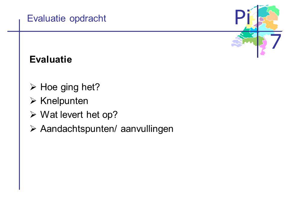 Pi 7 Evaluatie opdracht Evaluatie  Hoe ging het?  Knelpunten  Wat levert het op?  Aandachtspunten/ aanvullingen