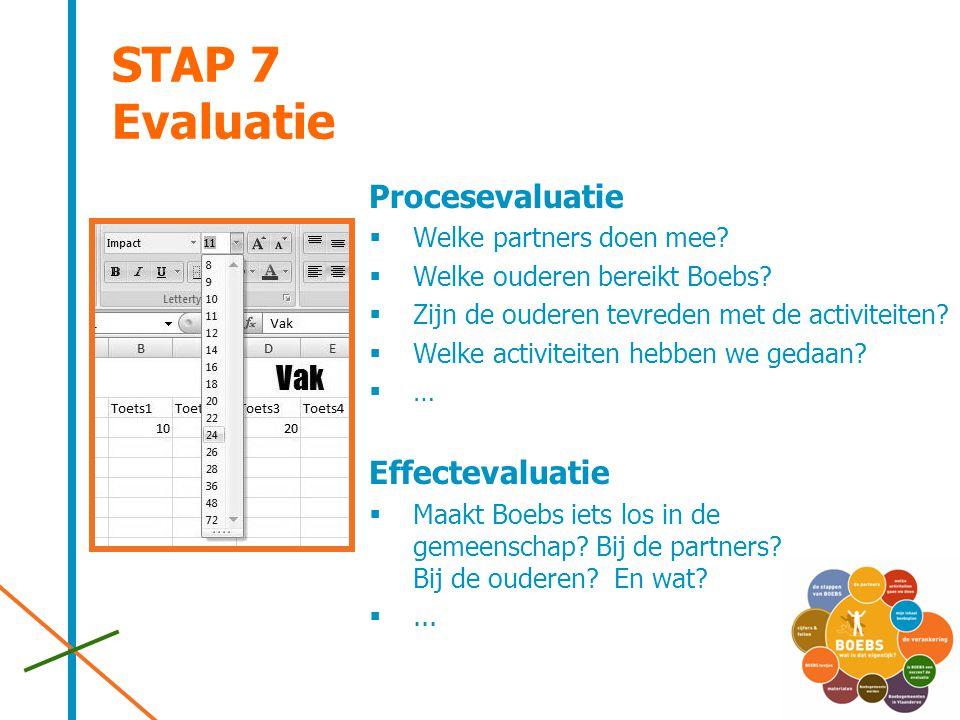STAP 7 Evaluatie Procesevaluatie  Welke partners doen mee?  Welke ouderen bereikt Boebs?  Zijn de ouderen tevreden met de activiteiten?  Welke act