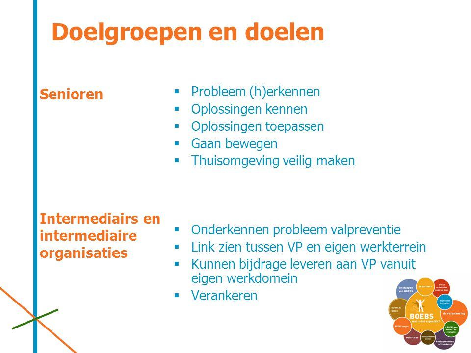 Doelgroepen en doelen Senioren Intermediairs en intermediaire organisaties  Probleem (h)erkennen  Oplossingen kennen  Oplossingen toepassen  Gaan