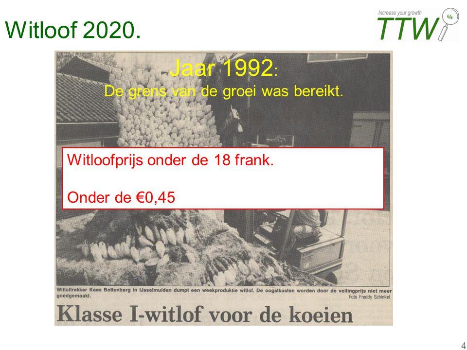 4 Witloof 2020. Jaar 1992 : De grens van de groei was bereikt. Witloofprijs onder de 18 frank. Onder de €0,45
