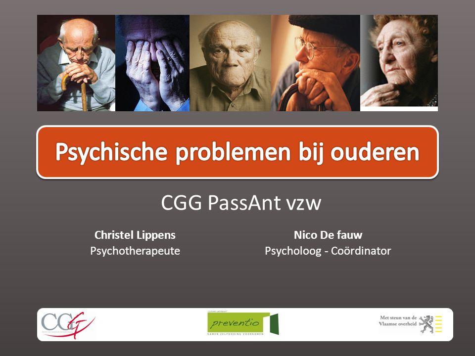 Christel Lippens Psychotherapeute CGG PassAnt vzw Nico De fauw Psycholoog - Coördinator